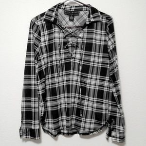 Polly Esther Black White Plaid Lace Up Pop Over